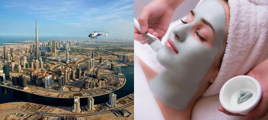 15 minutes Helicopter Tour – Sharing, Burj Al Arab 3 Course Set Menu Lunch at Al Muntaha, Arabian Rassoul Body Wrap, Massage and Facial at Dubai's Spa